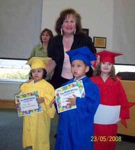 Wendy Hellyer with graduates of the YWCA preschool